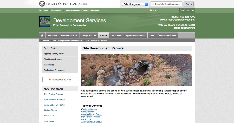 Oregon Site Permit Page