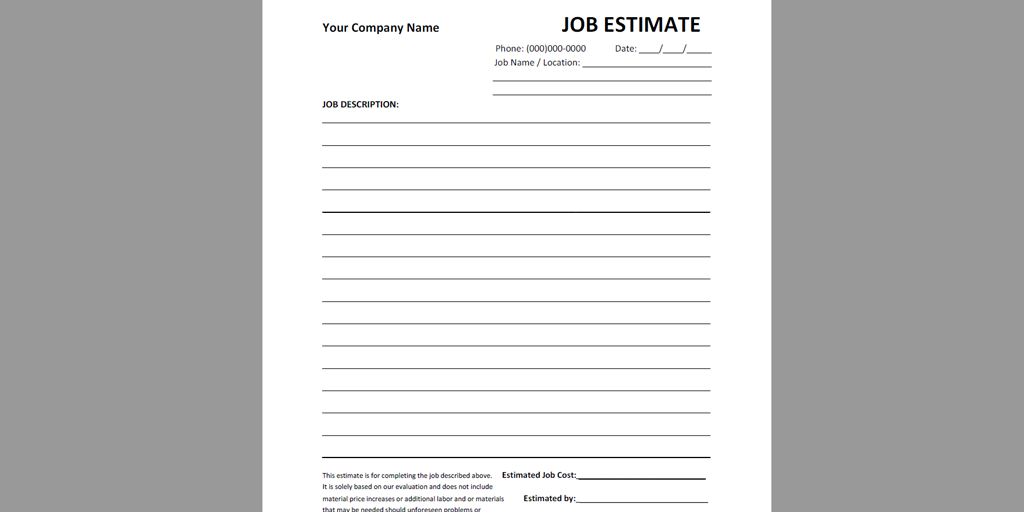 Free Estimate Template   Atyourbusiness Job Estimate Pdf  Business Estimate Template