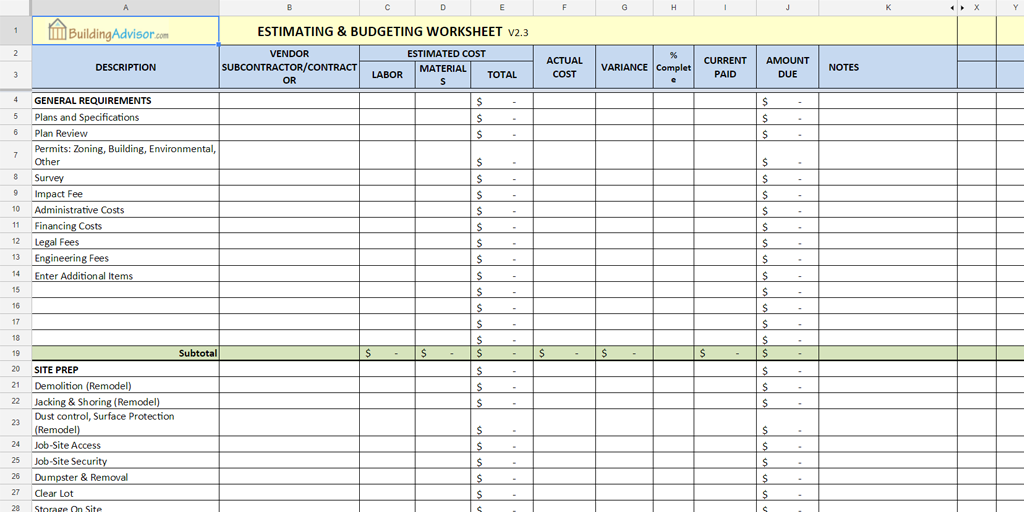 estimating excel template