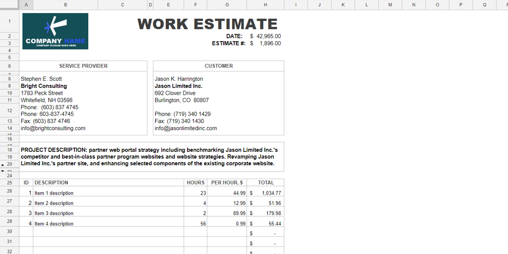 free estimate template - hloom excel work estimate