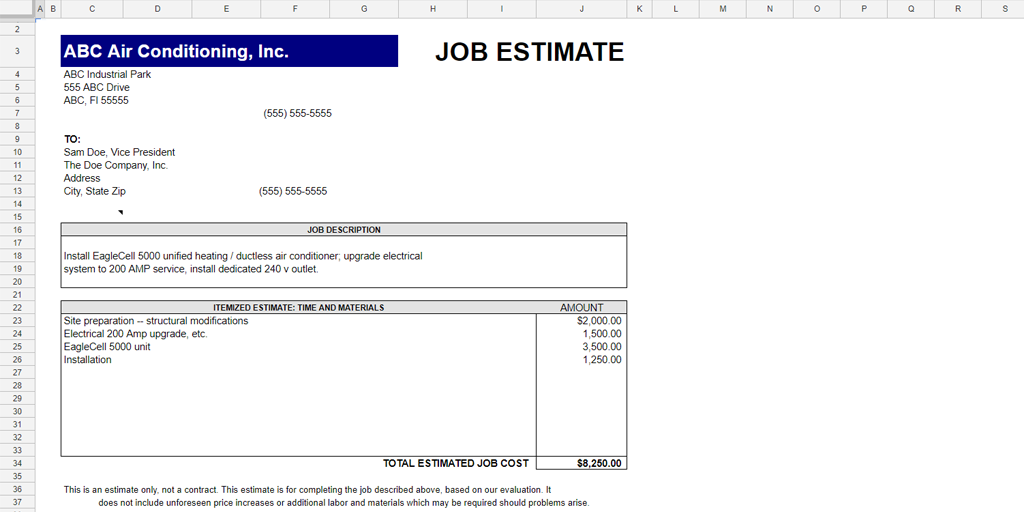 Quote Templates U2013 Job Estimate Template  Business Estimate Template