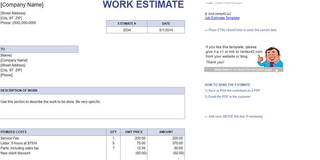free estimate template - vertex42 job estimate