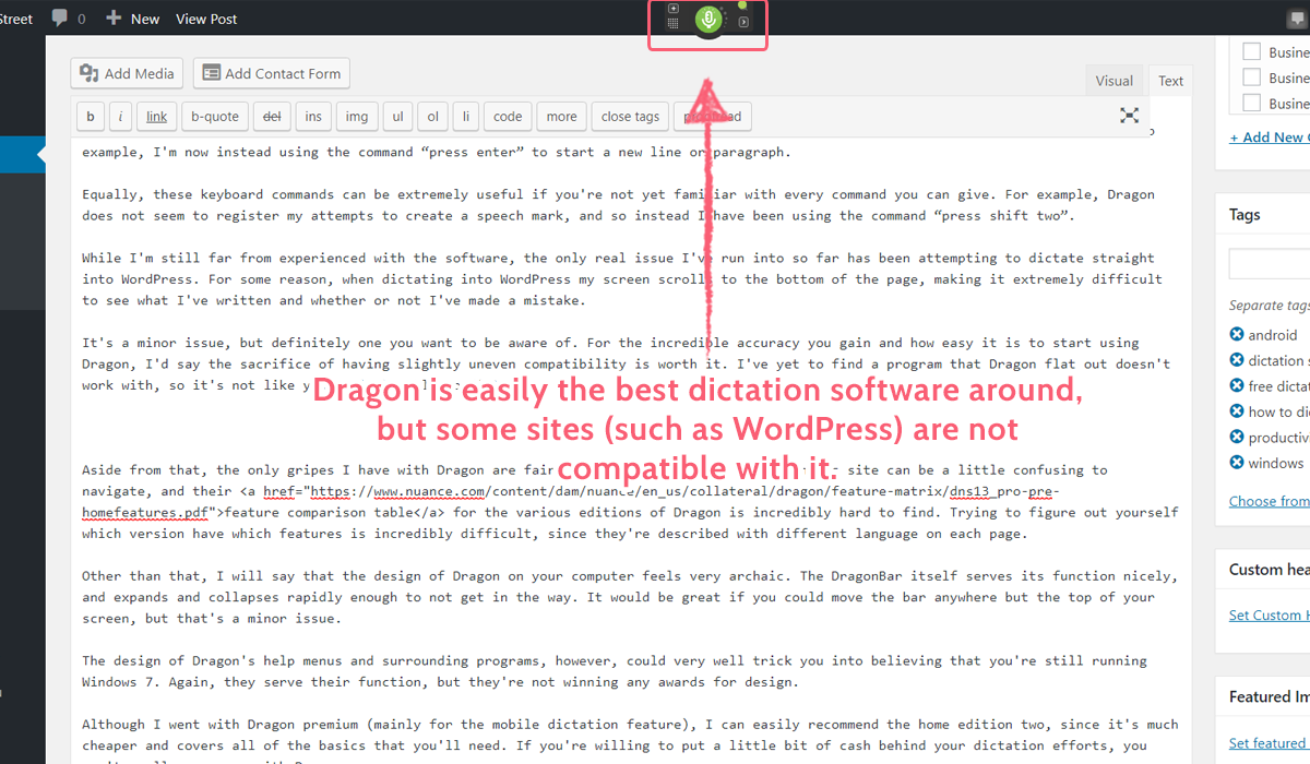 dictation software - dragon not compatible