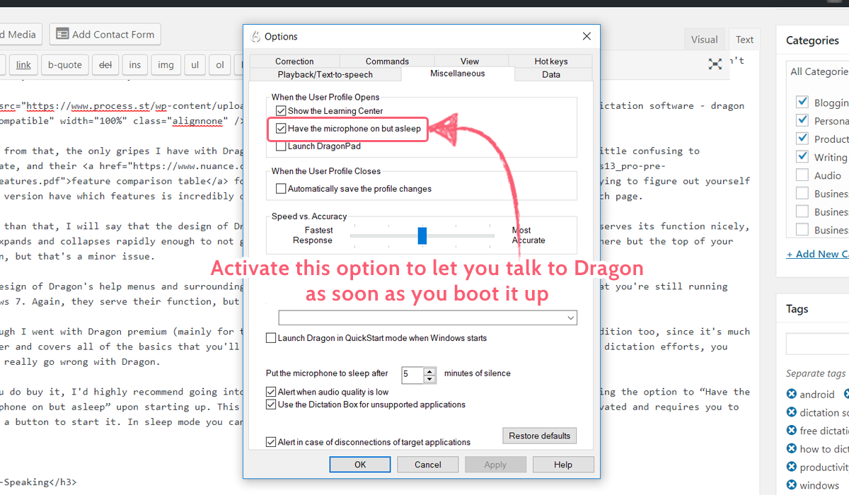 dictation software - dragon option advice