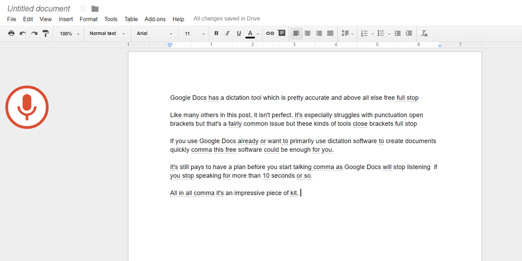 dictation software - google docs demo