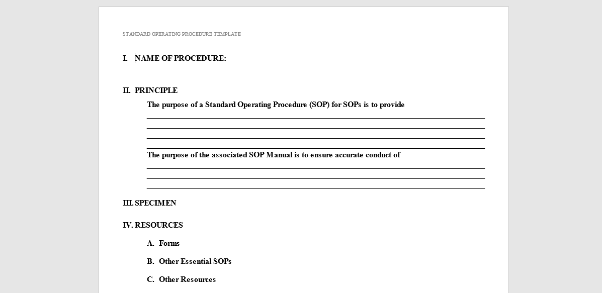 A Formal General Purpose SOP Template  Procedure Templates