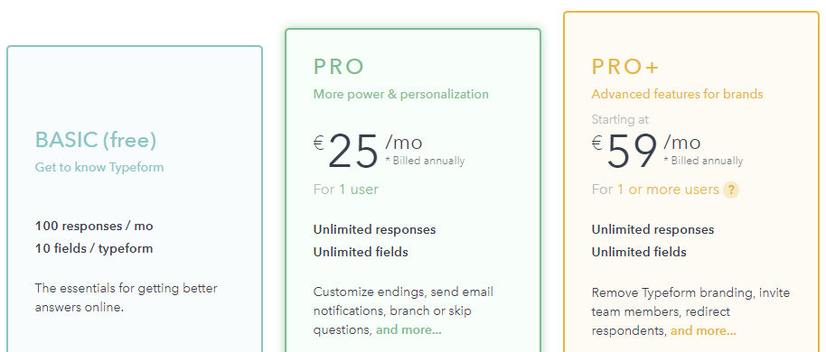 create a form typeform pricing