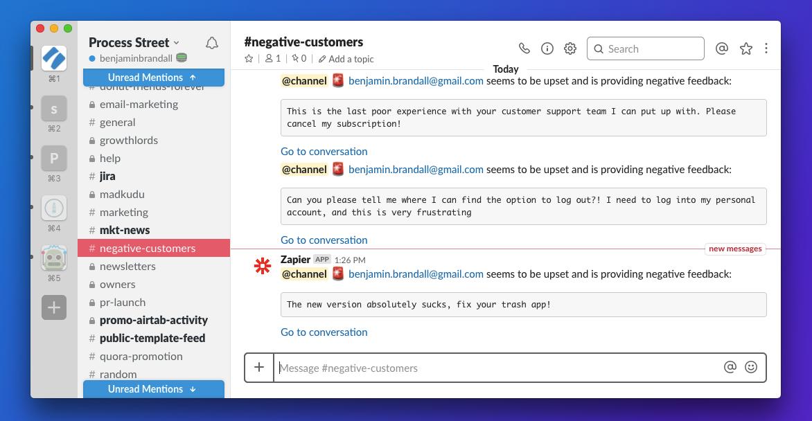 Slack Zapier Customer Complaint