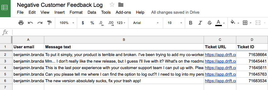 Google Sheets Customer Complaint Logging