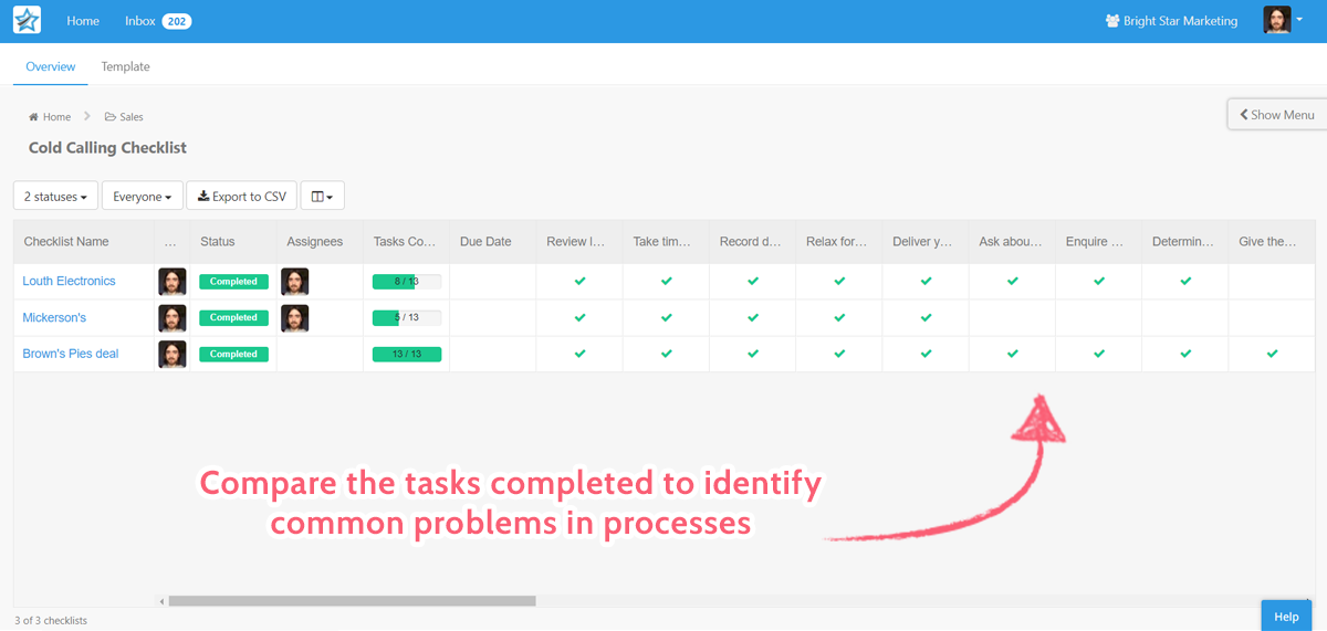 compare completed tasks