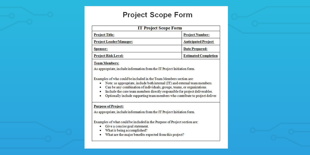 project scope form