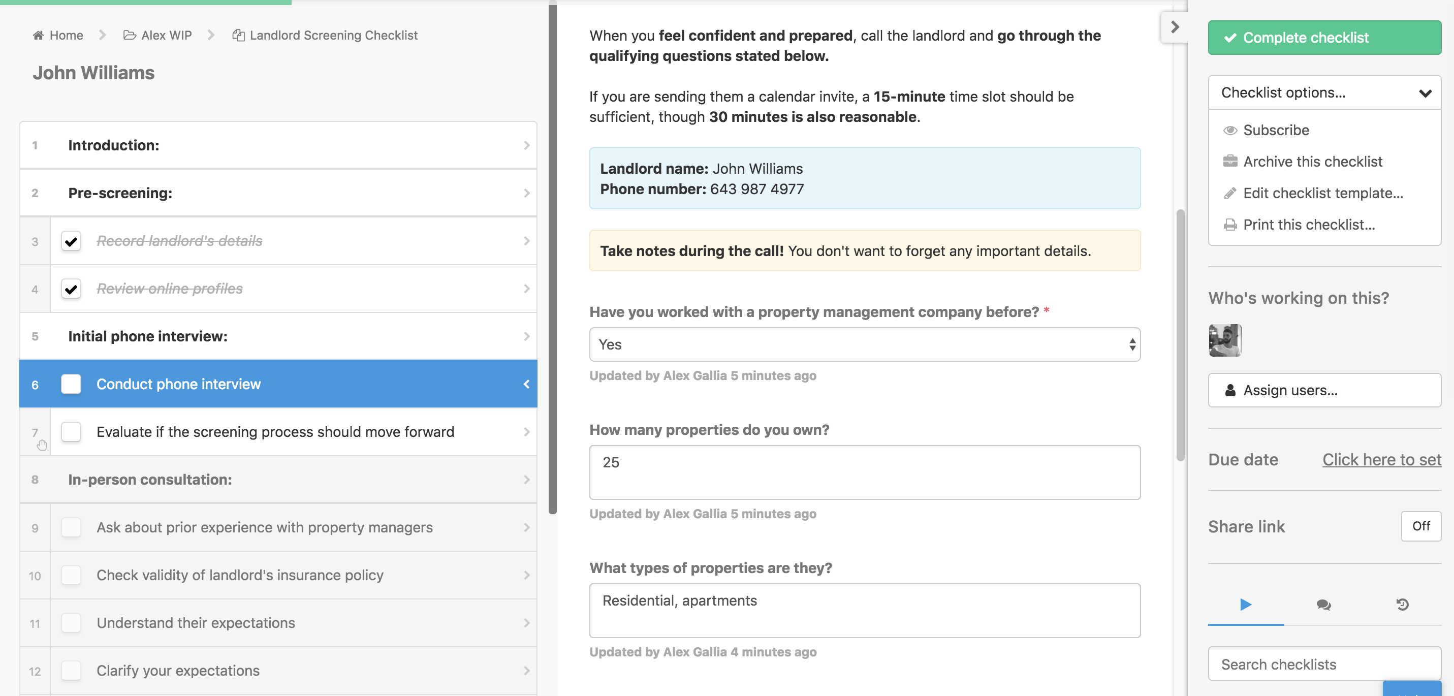 landlord screening checklist snapshot