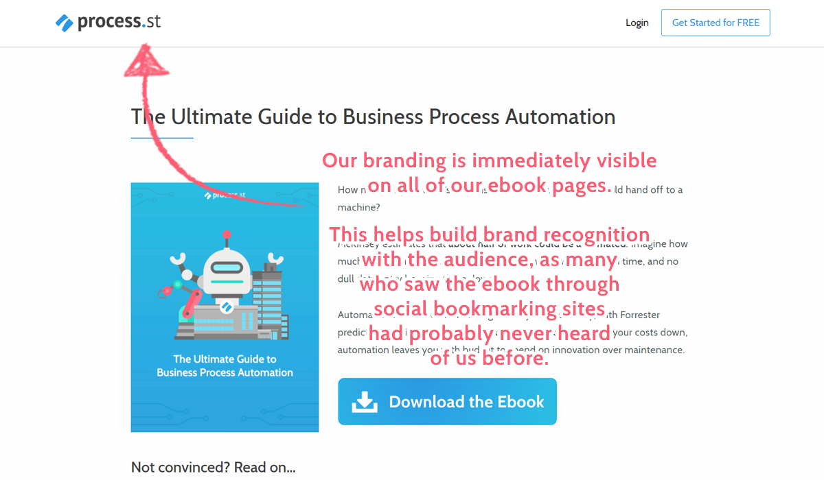 business process automation ebook landing page