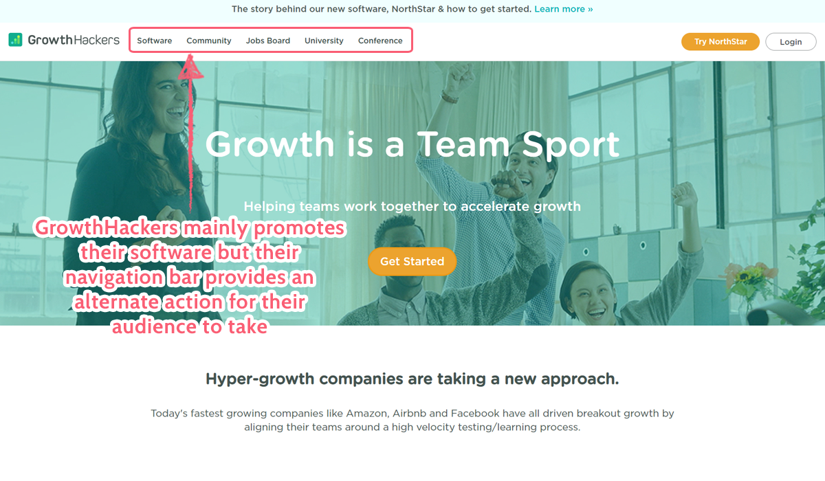 growthhackers landing page