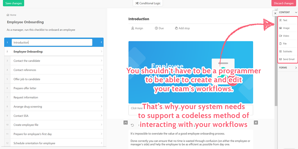 codeless workflow features