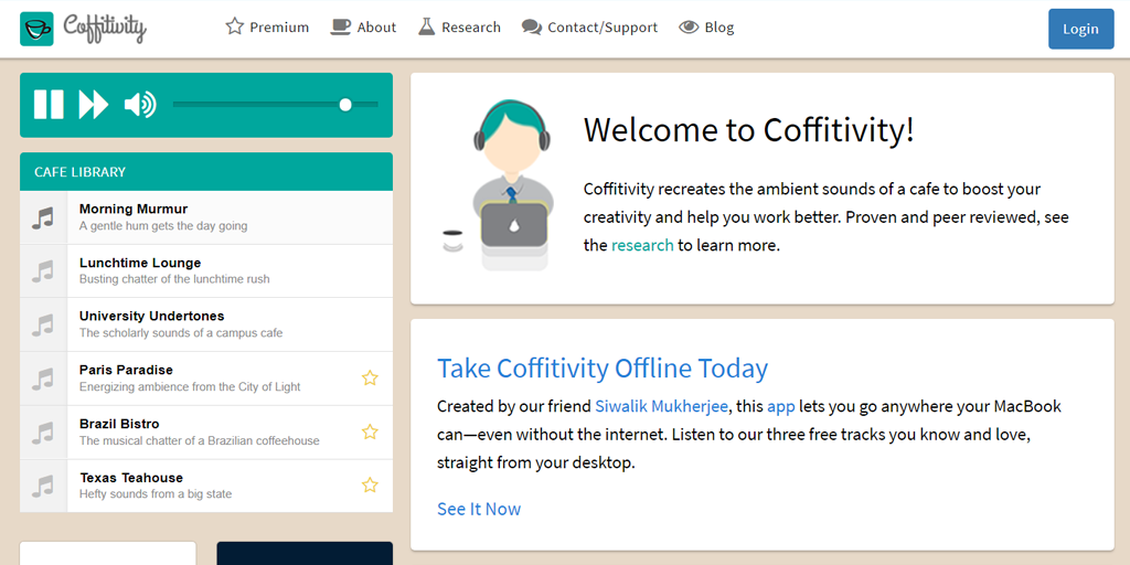 coffitivity productivity tools
