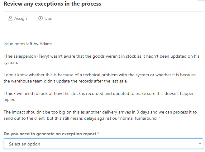 exception report review