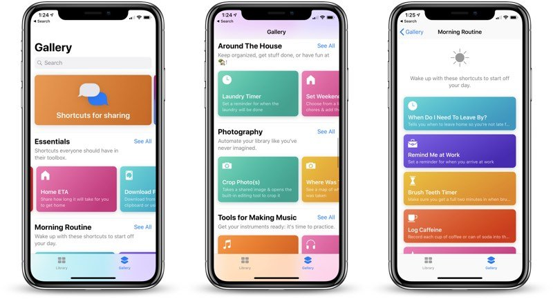 ios shortcuts app screens