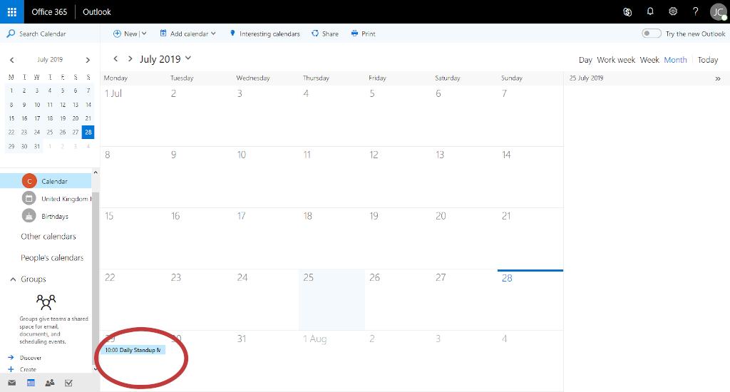 Process Street + Office 365 integration - calendar event