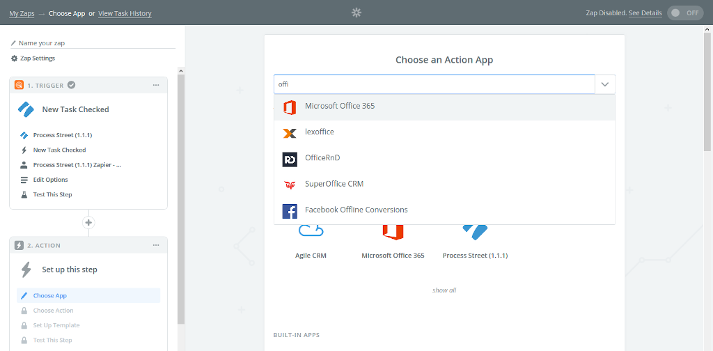 Choose Office 365 as your action application