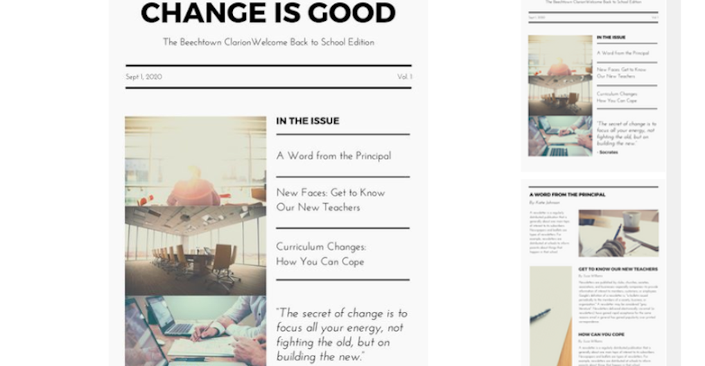 Newsletter templates: template 18