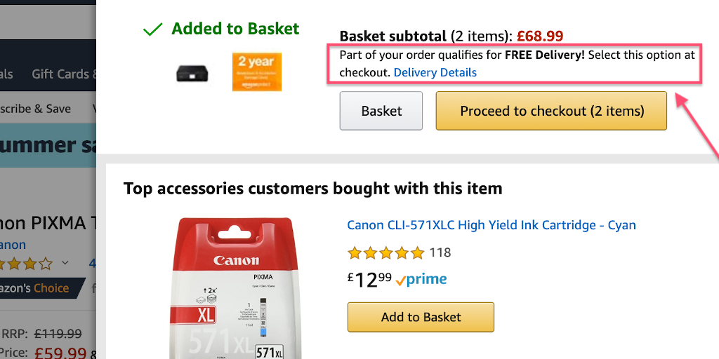 Free shipping conversion example