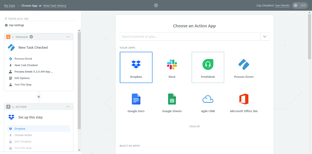 Choose Dropbox as Your Action Application