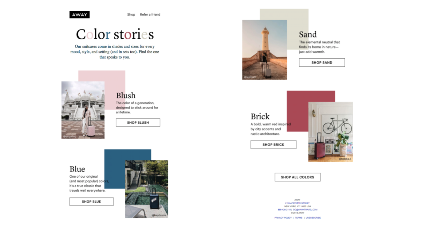 email marketing content colour stories