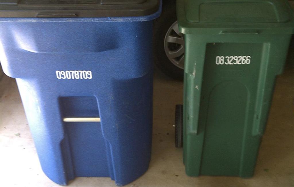 recycling bin larger than garbage bin - nudge theory