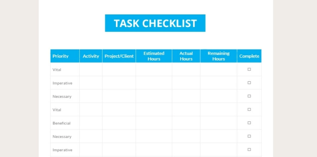 Google Docs checklist - checklist template five