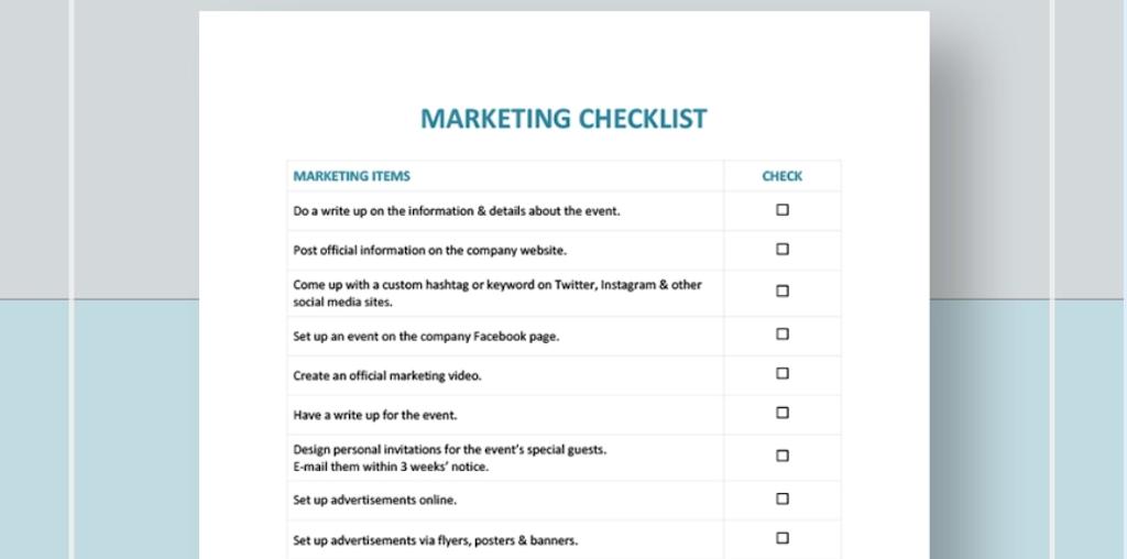 Google Docs checklist - checklist template four
