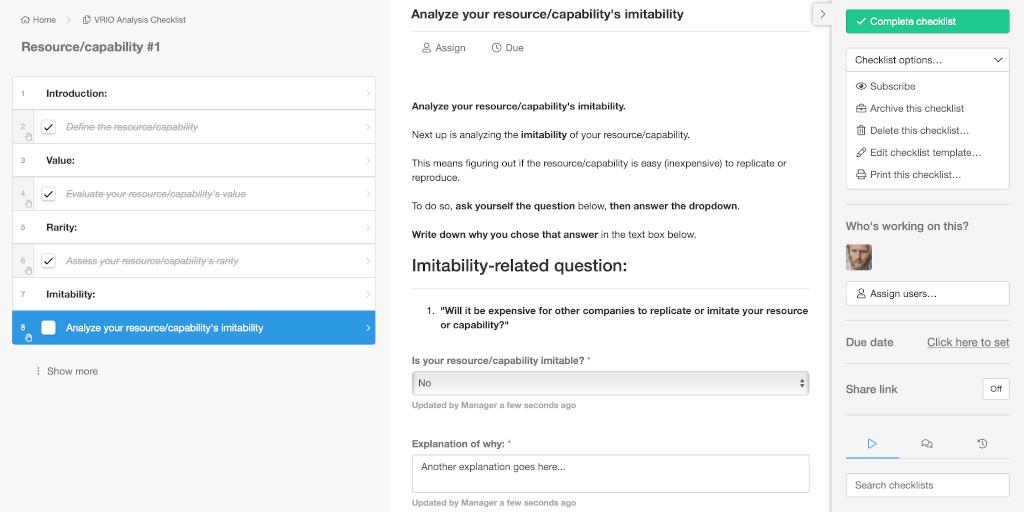 VRIO analysis checklist step 4