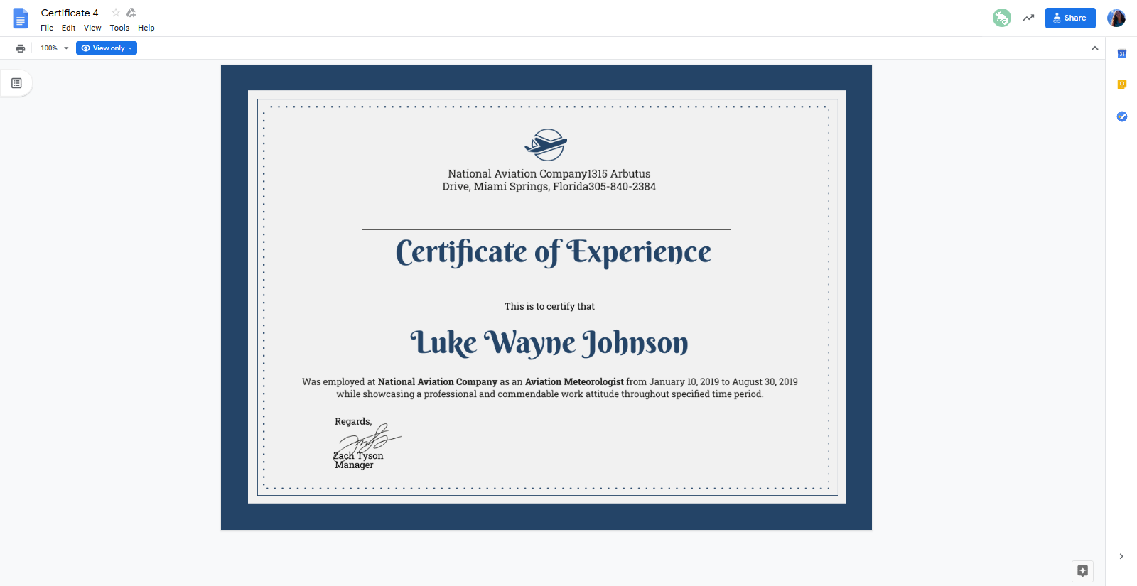Google Doc Template - Certificate of Experience