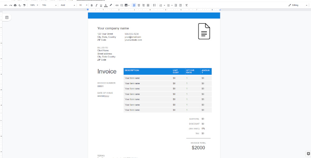 Google Docs Templates - Blue and White Invoice