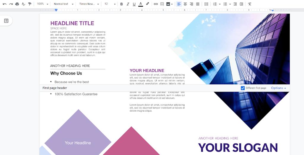 Google Docs Templates - Business trifold brochure