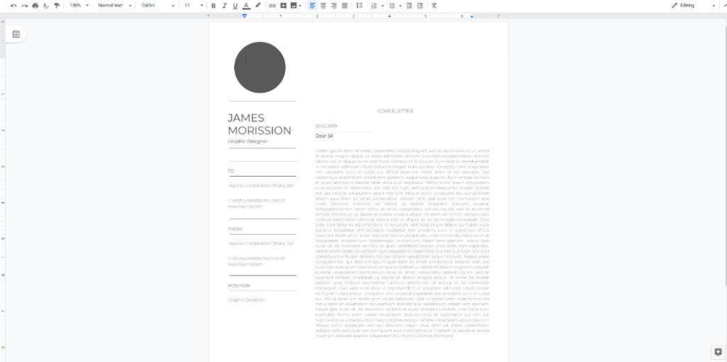 Google Docs Template - Minimalist Cover Letter