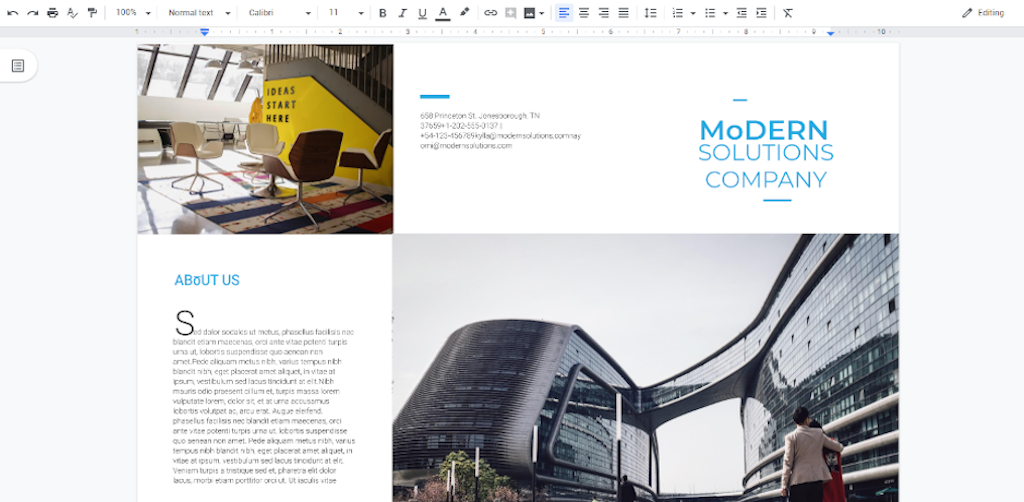 Google Docs Templates - Modern Brochure