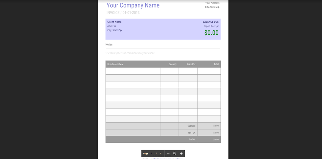 Google Docs Templates - Basic Invoice