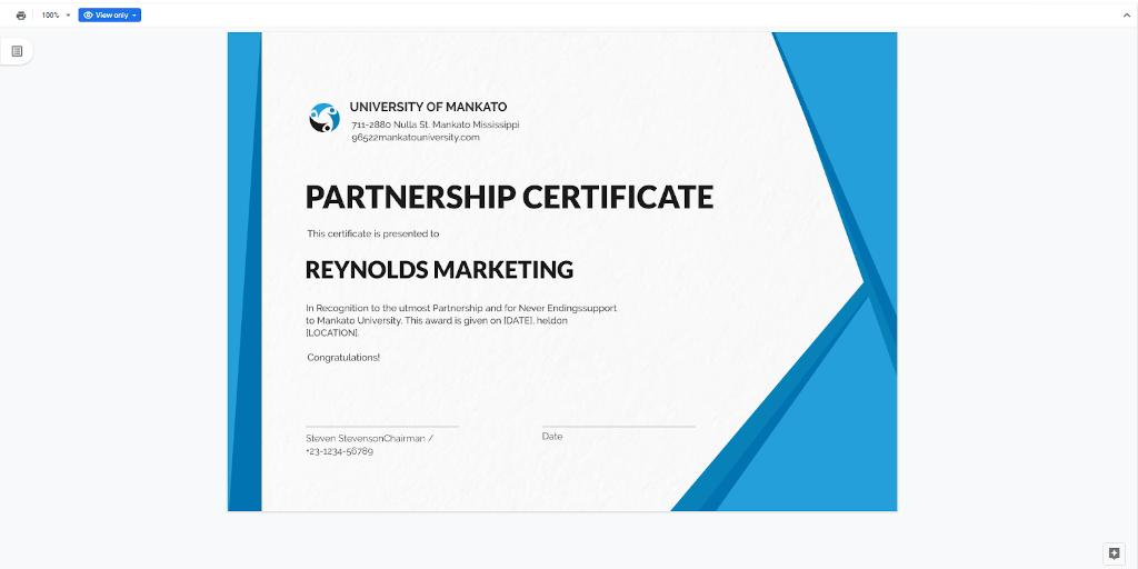 Google Docs Templates - Business Certificate