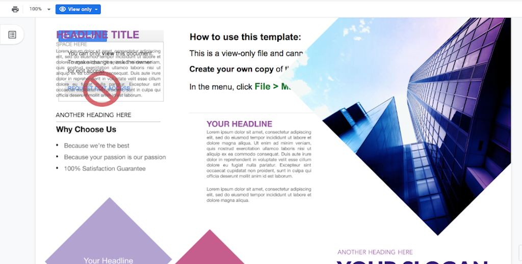 Google Doc Templates - Business tri brochure