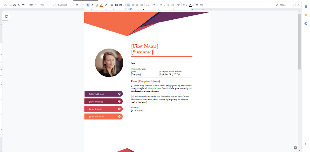 Google Docs Templates - Contempoary Cover Letter