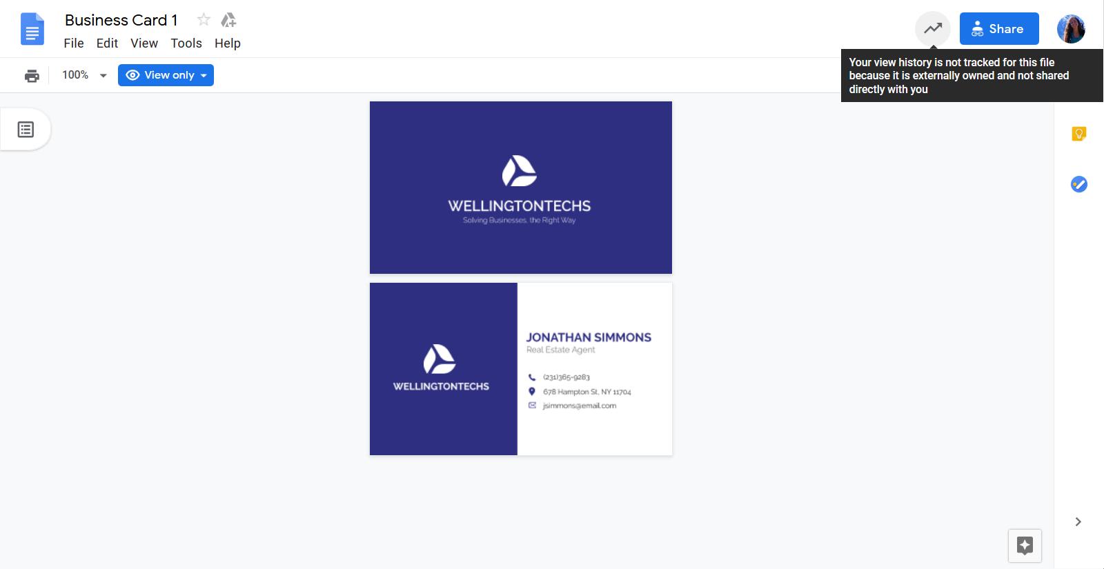 Google Doc Templates - Corporate Business Card