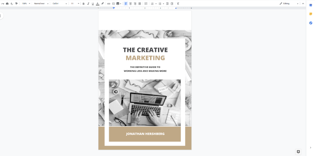 Google Docs Templates - Marketing Book Cover