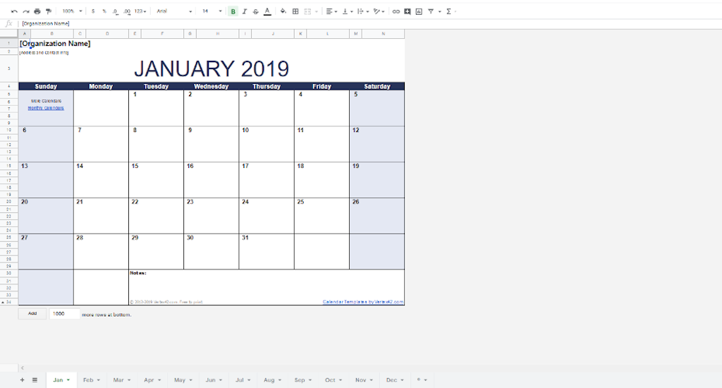 Google Docs Templates - Monthly calendar