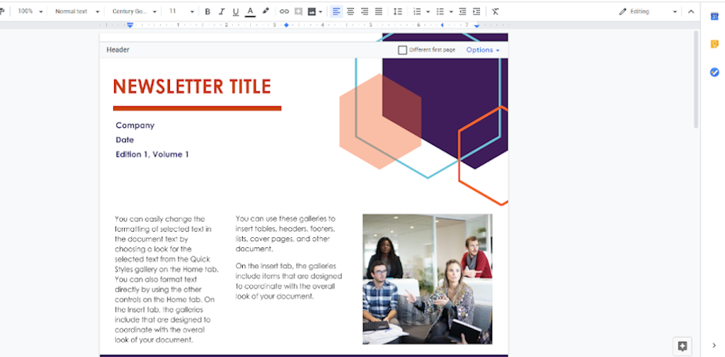 Google Docs Templates - Newsletter Template