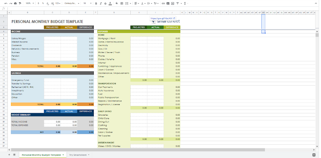 Google Doc Templates - Personal Monthly Budget Planner