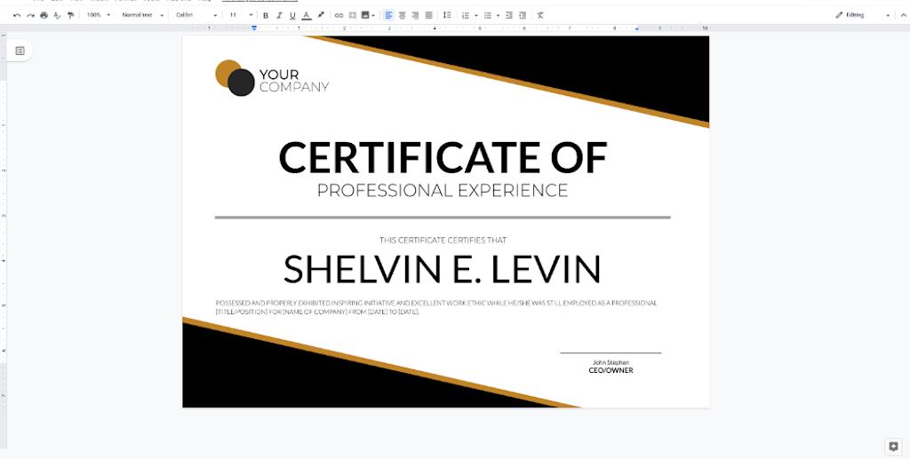 Google Docs Templates - Professional Experience Certificate