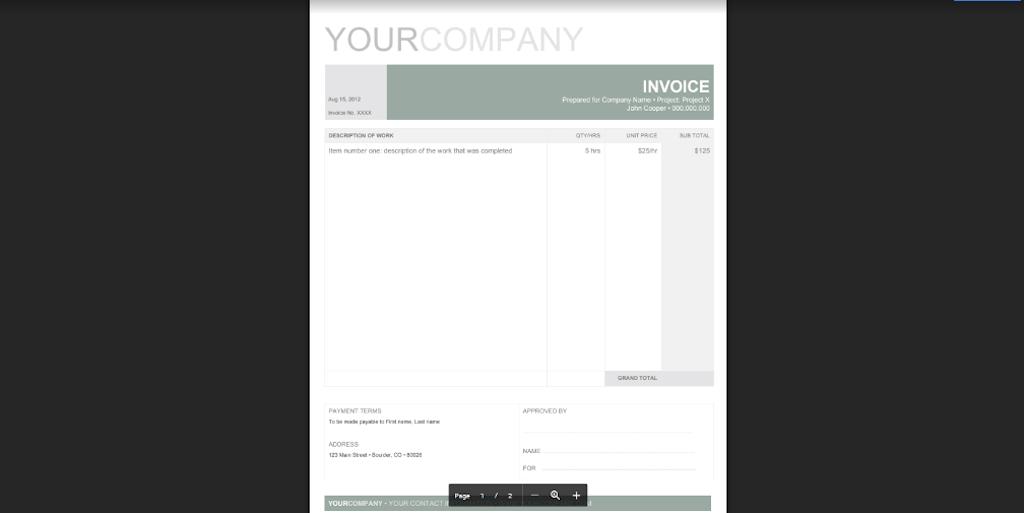 Google Docs Templates - Professional invoice