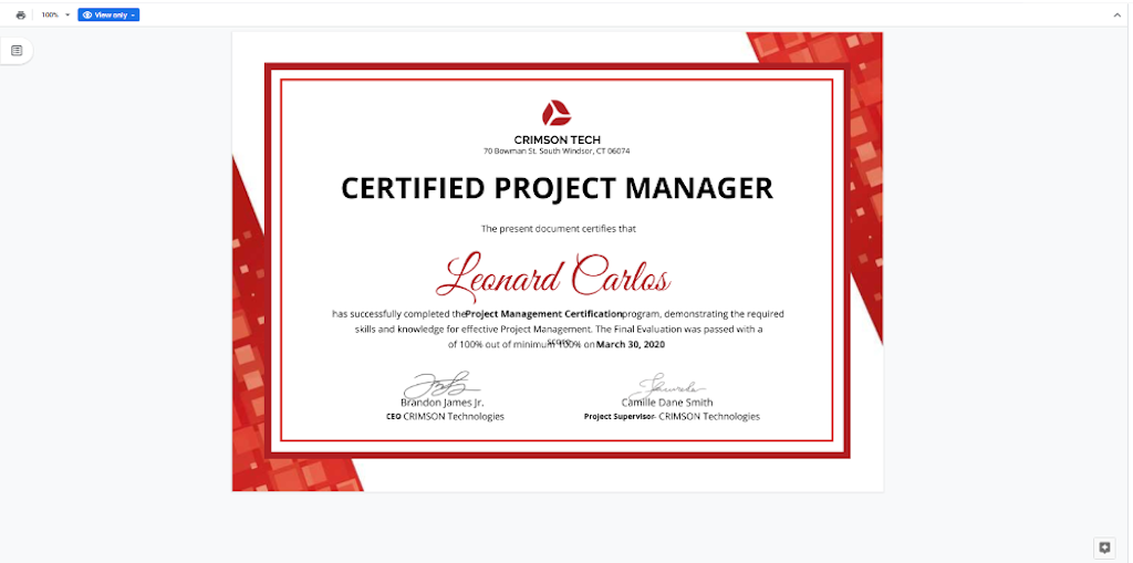 Google Docs Templates - Project Manager Certificate