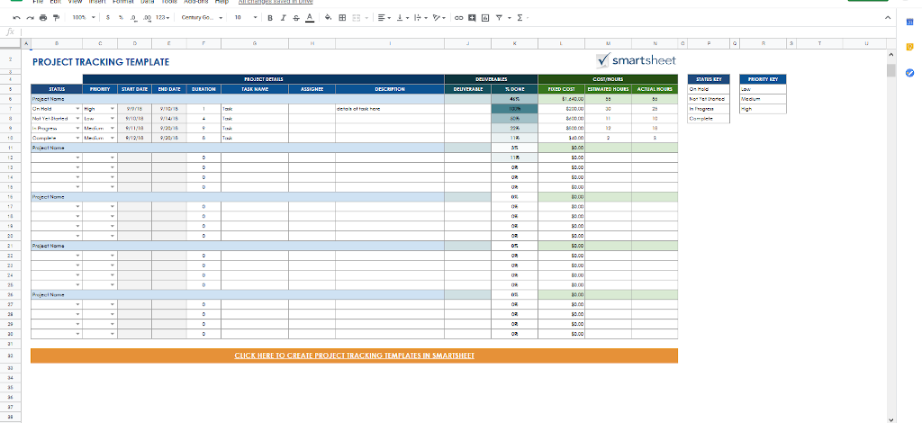 Google Docs Templates - Project Tracking
